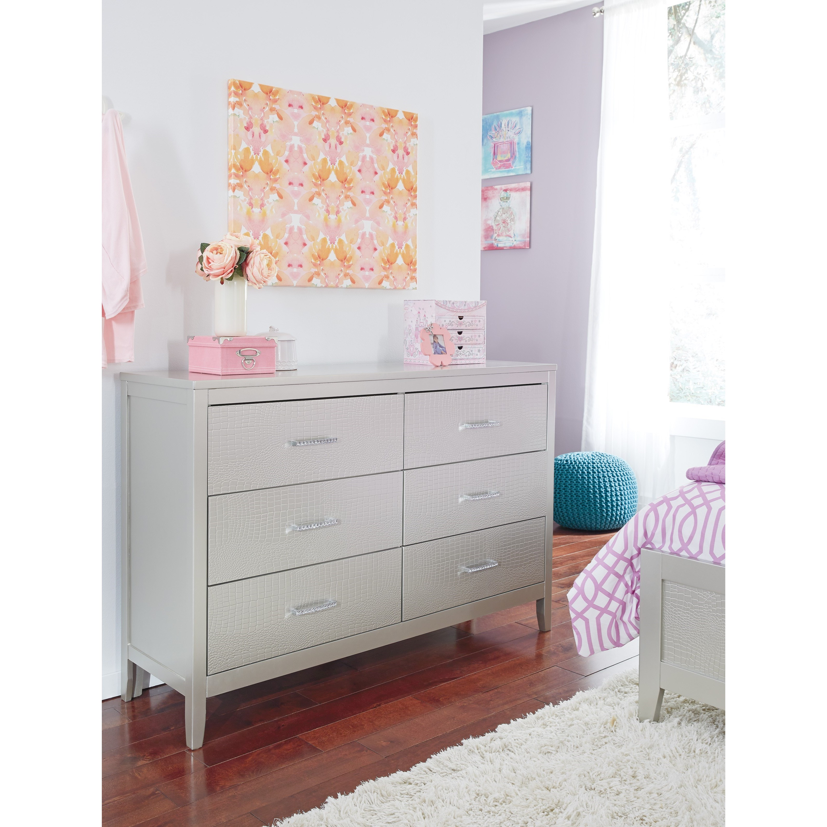 Signature Design By Ashley Olivet B560 31 Glam Dresser With Faux Crystal Drawer Pulls