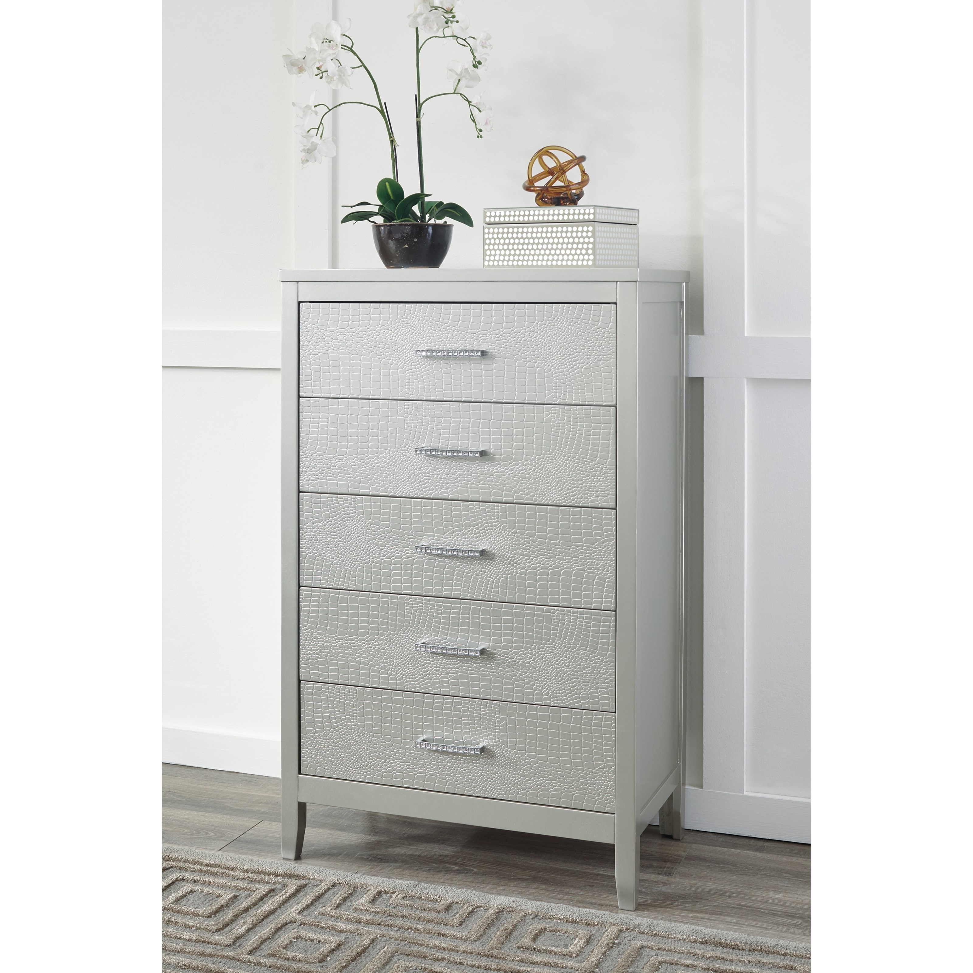 Signature Design By Ashley Olivet Glam 5 Drawer Chest With