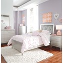 Signature Design by Ashley Olivet Glam Twin Panel Bed with Faux Crystal Button Tufted Panel