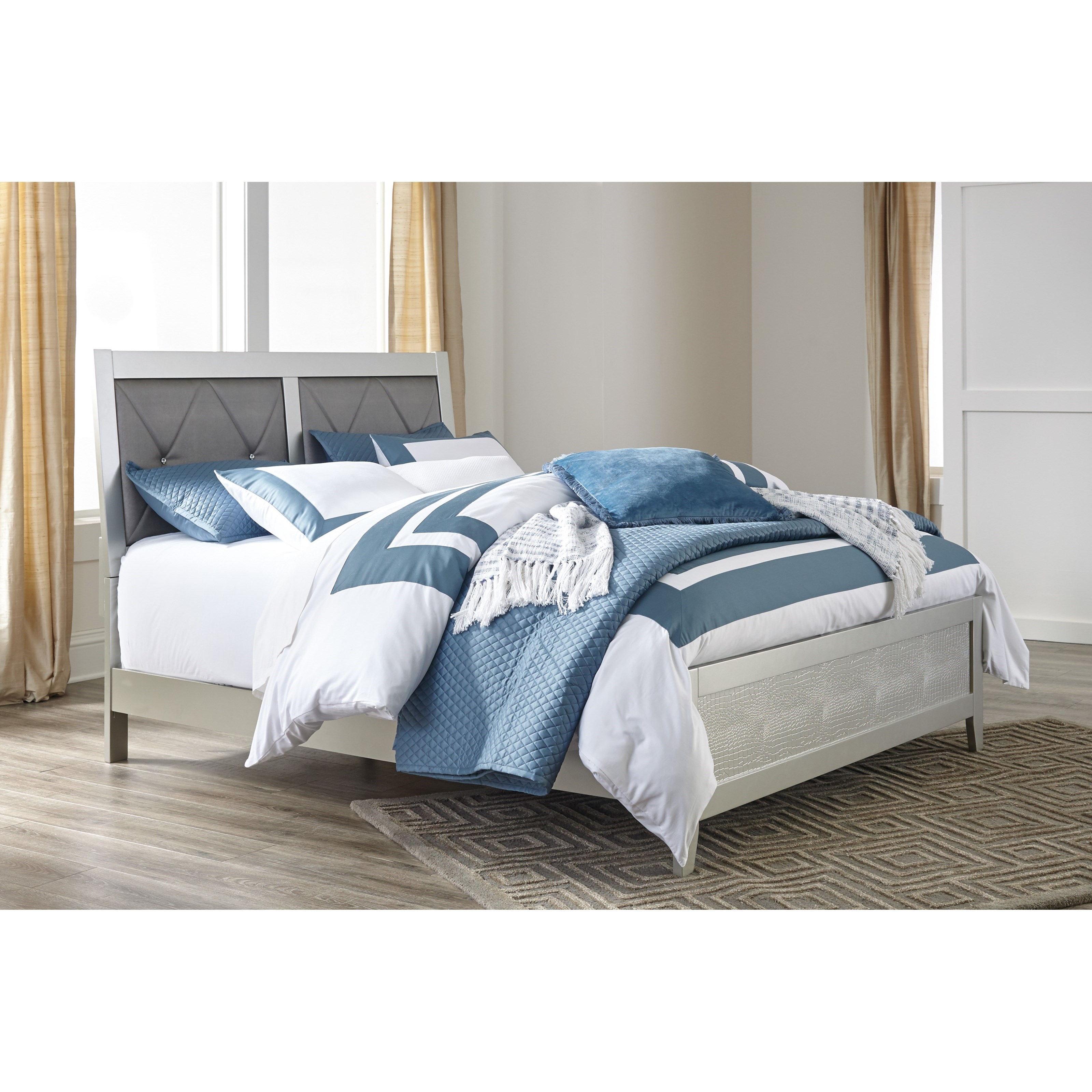 Signature Design By Ashley Olivet Glam King Panel Bed With