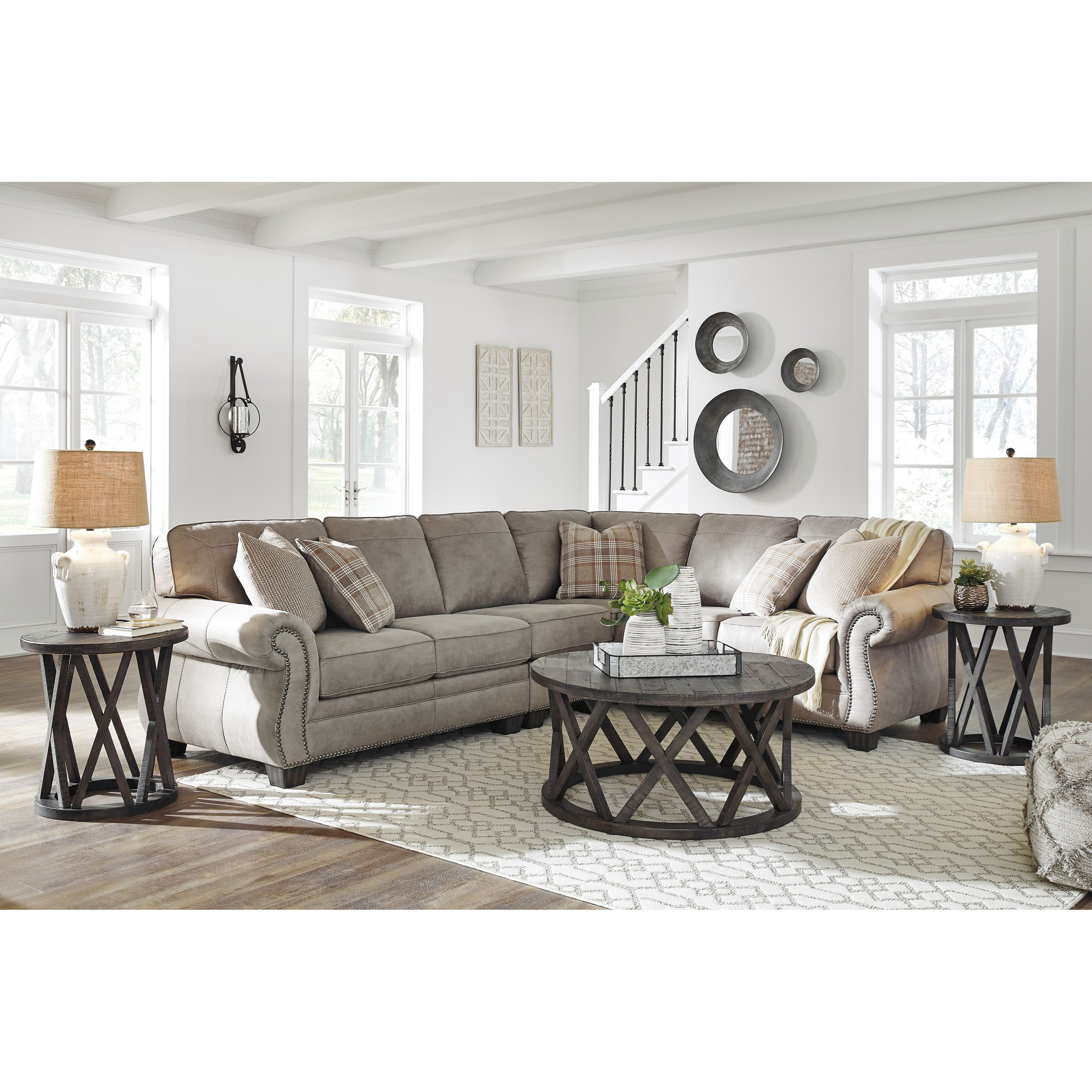 Transitional Style Living Room Furniture: Signature Design By Ashley Olsberg 3 Piece L-Shaped