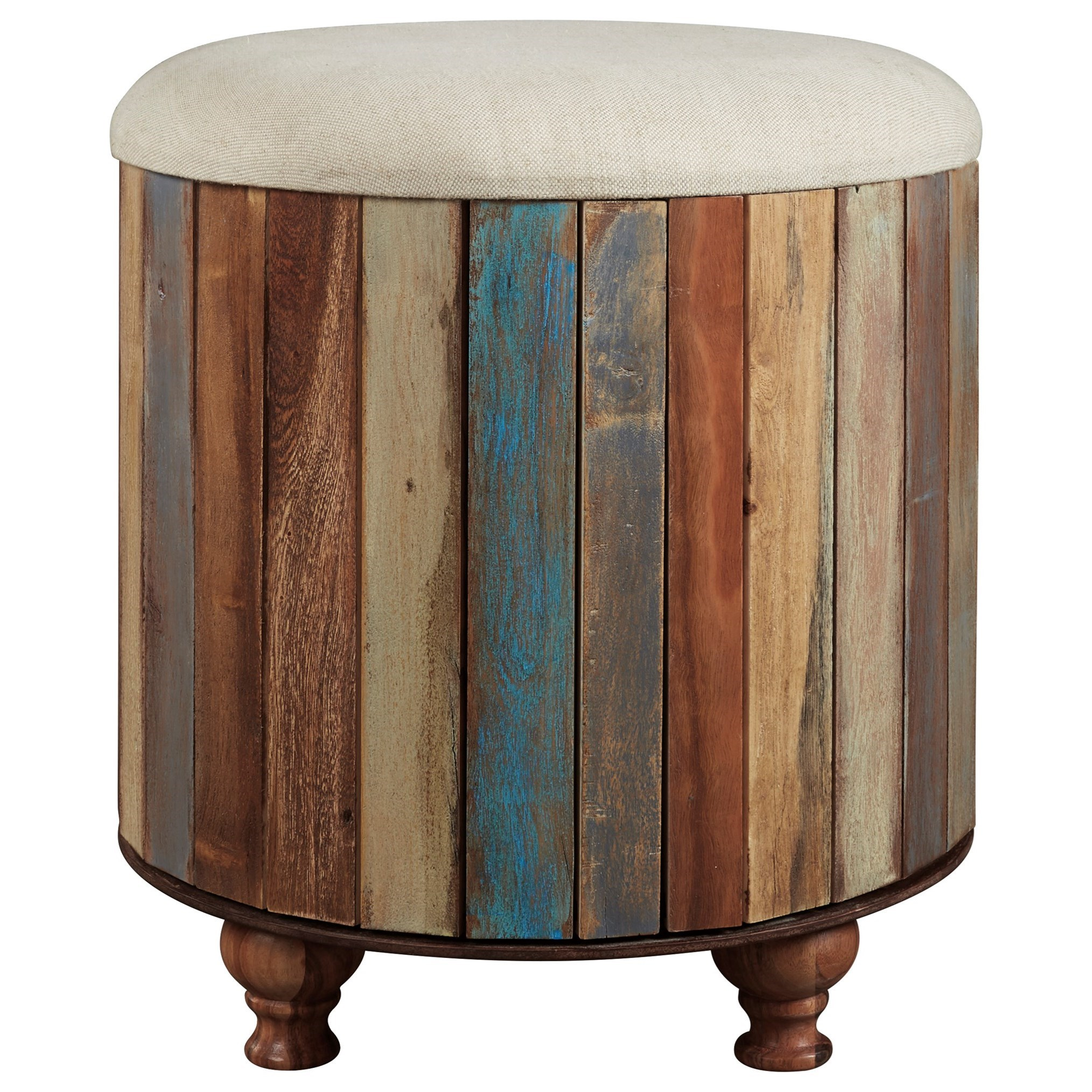 Signature Design By Ashley Oristano Multicolor Recycled Wood Storage Ottoman With Upholstered Top Houston S Yuma Furniture Ottomans