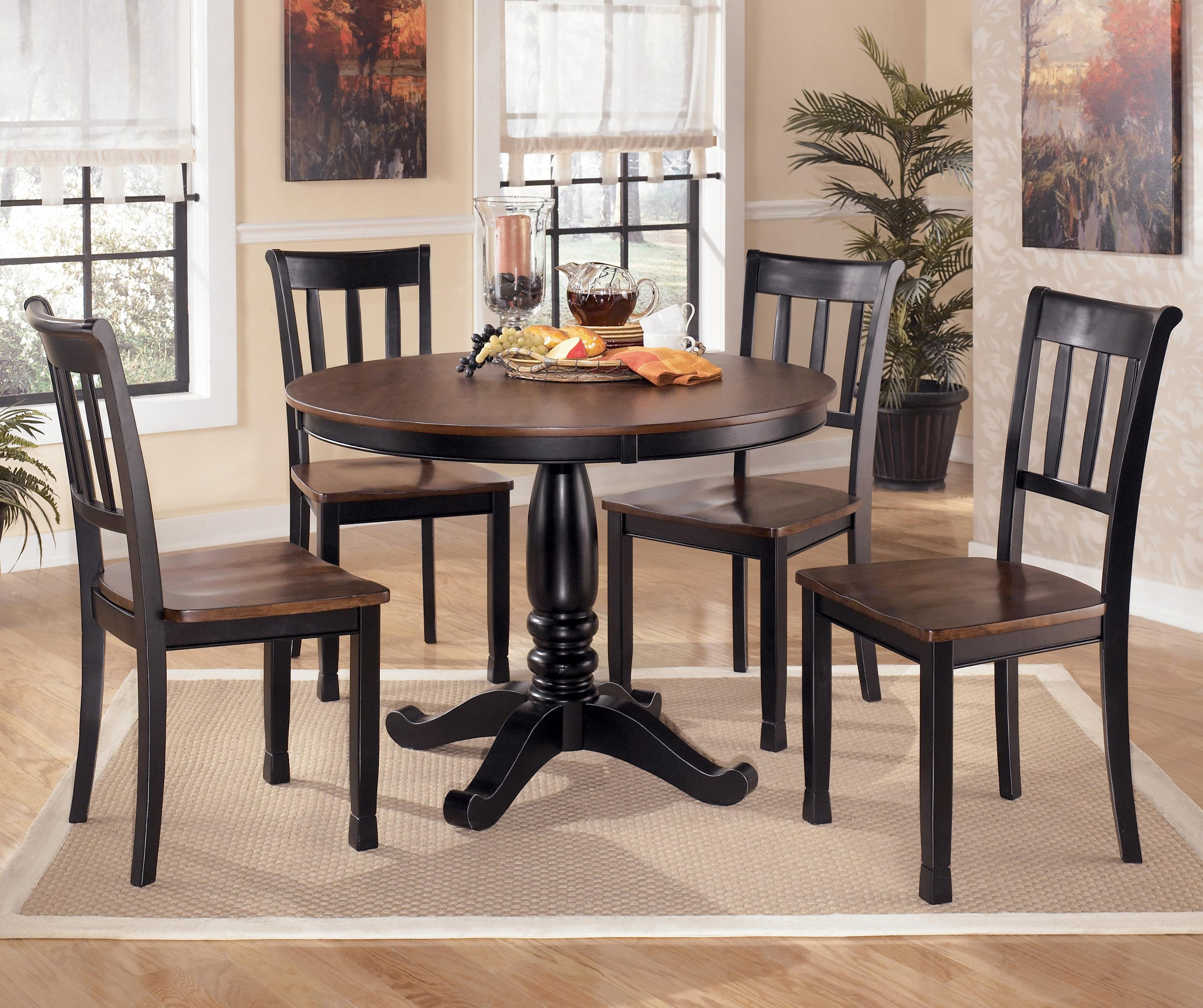 Signature Design by Ashley Owingsville 5-Piece Round Dining Table Set - Item Number: D580-15B+15T+4x02