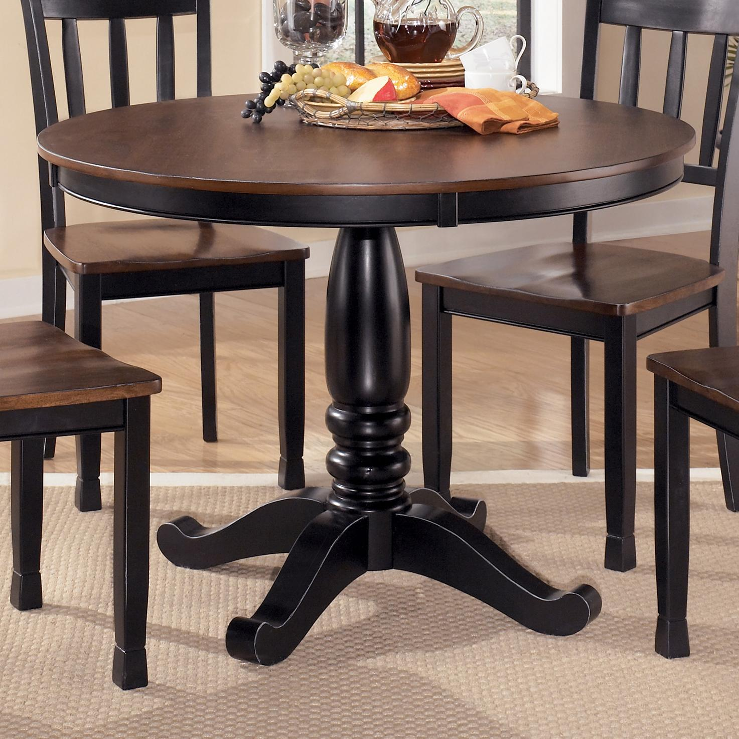 Signature Design by Ashley Owingsville Round Dining Room Table - Item Number: D580-15B+15T