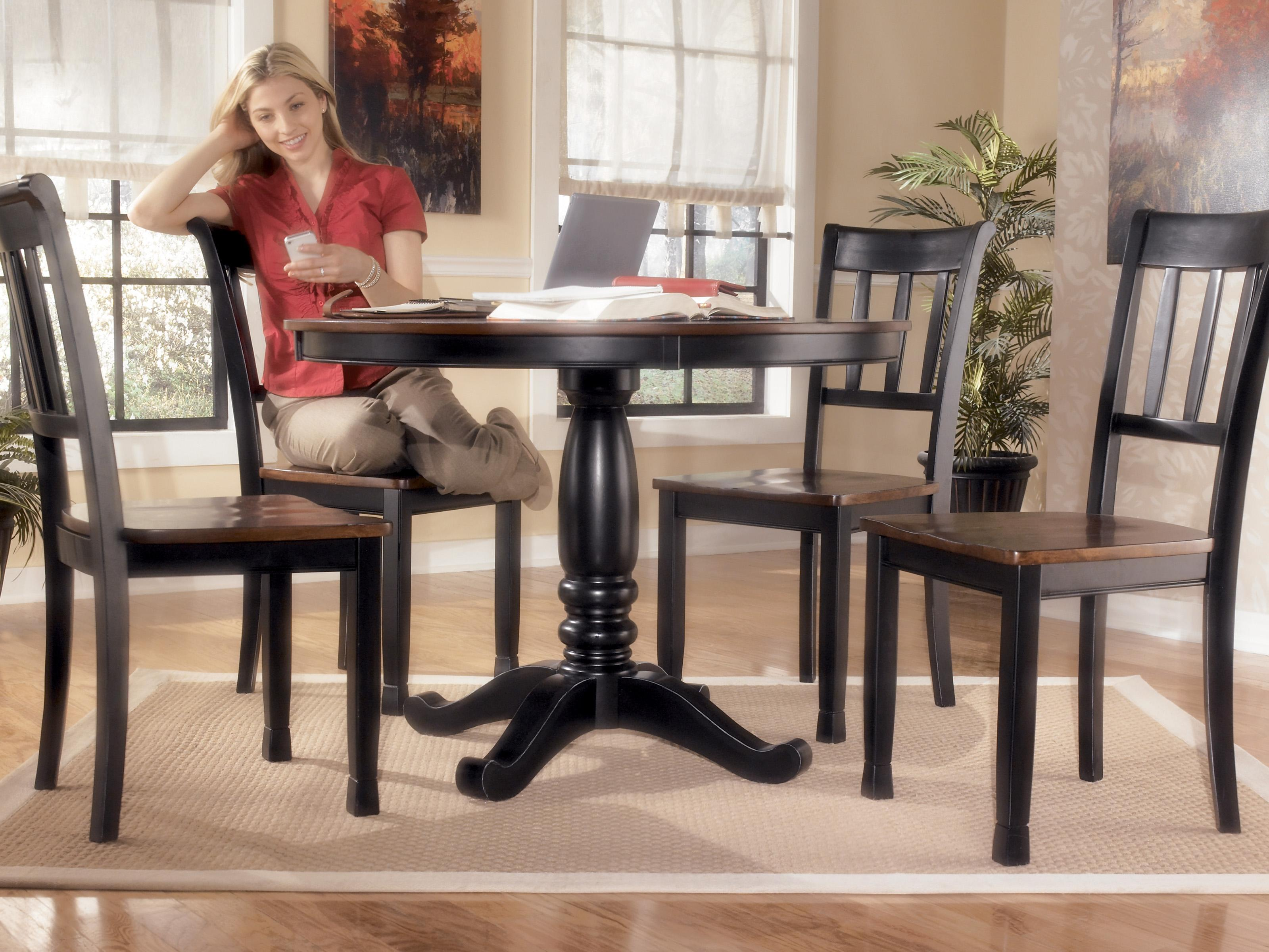 Signature design by ashley owingsville round dining room for V dining room table