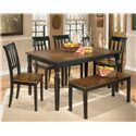 Signature Design by Ashley Owingsville 6-Piece Rectangular Table Set with Bench - Item Number: D580-25+4x02+00
