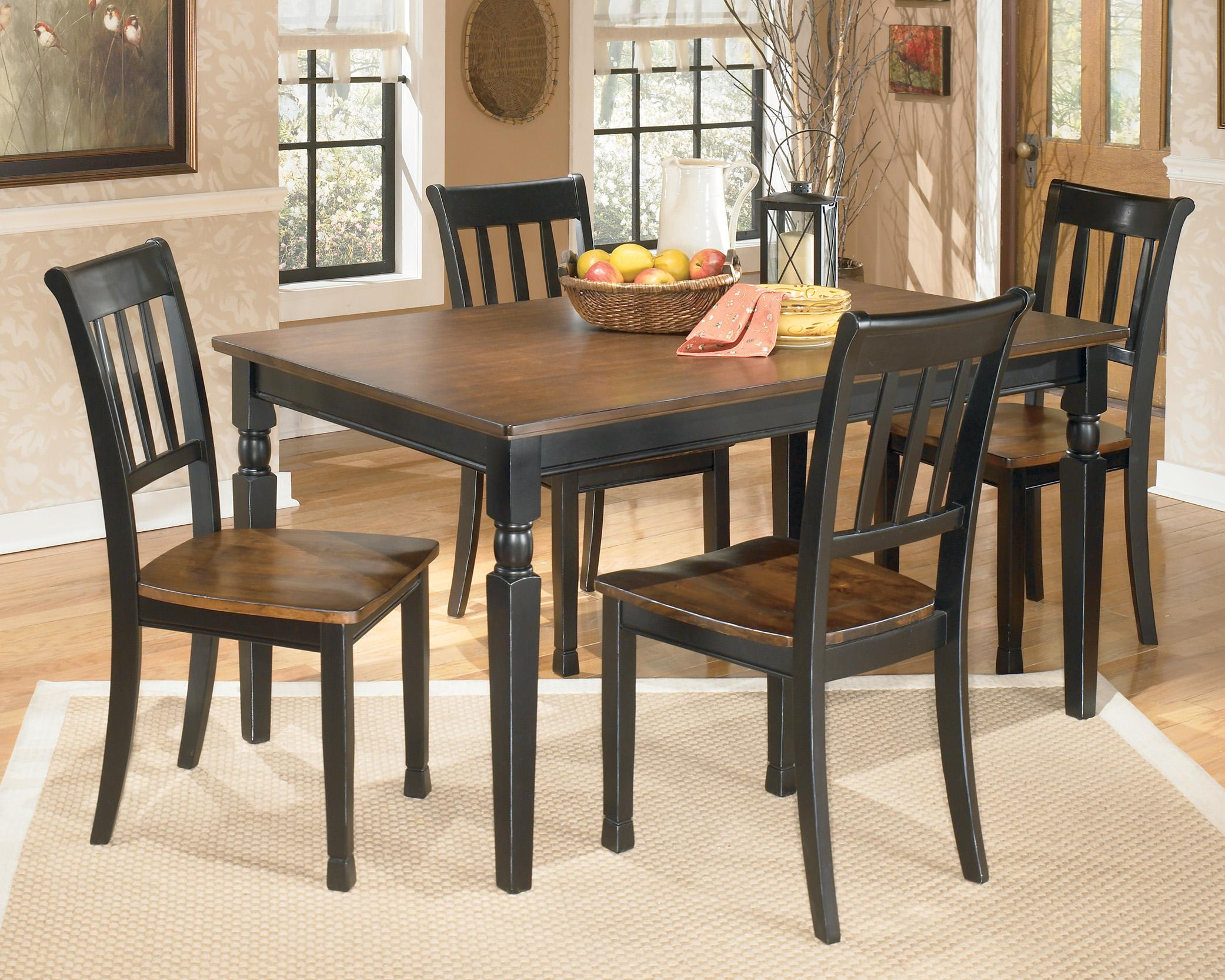 Signature Design by Ashley Owingsville 5-Piece Rectangular Dining Table Set - Item Number: D580-25+4x02