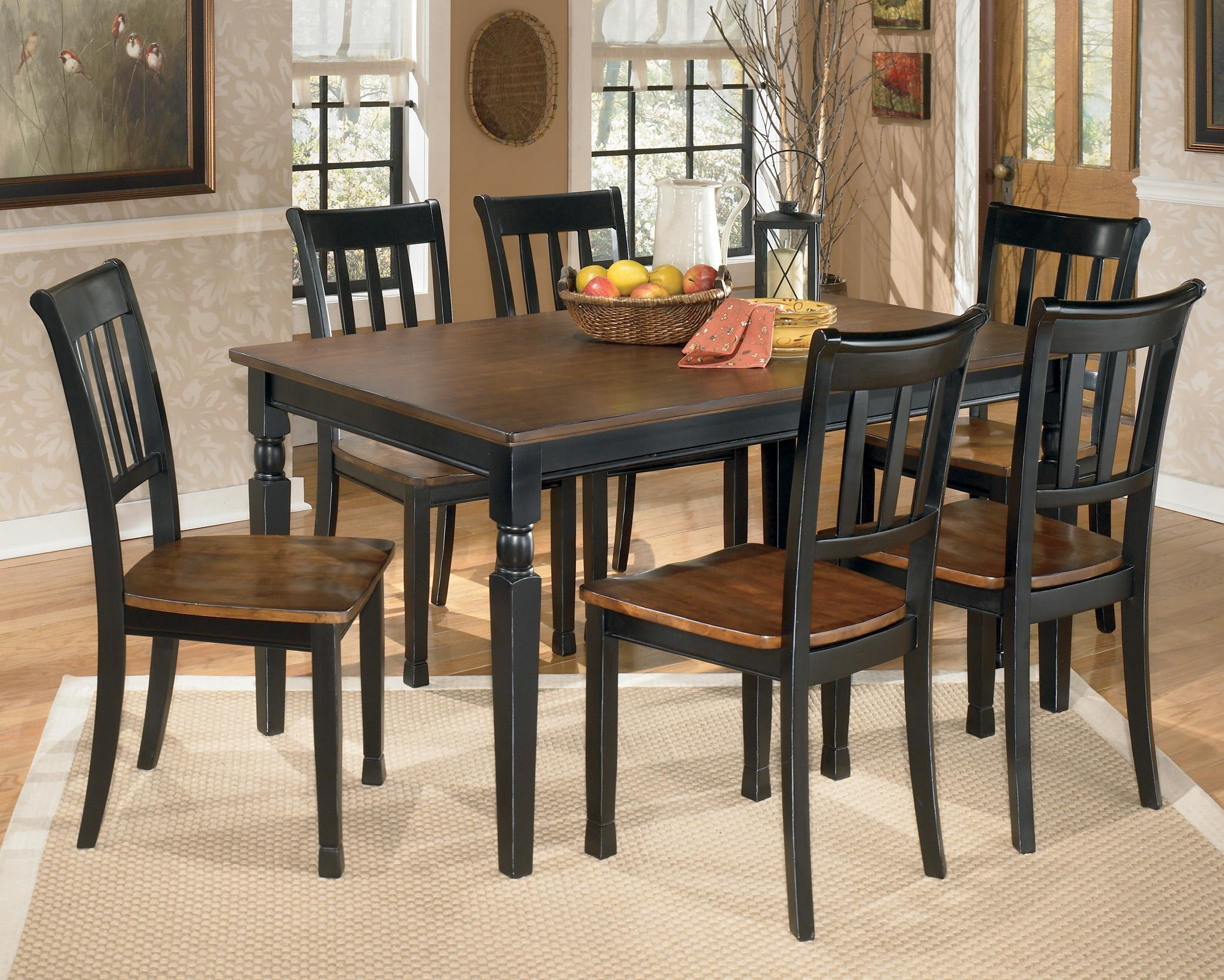 Signature Design by Ashley Owingsville 7-Piece Rectangular Dining Table Set - Item Number: D580-25+6x02