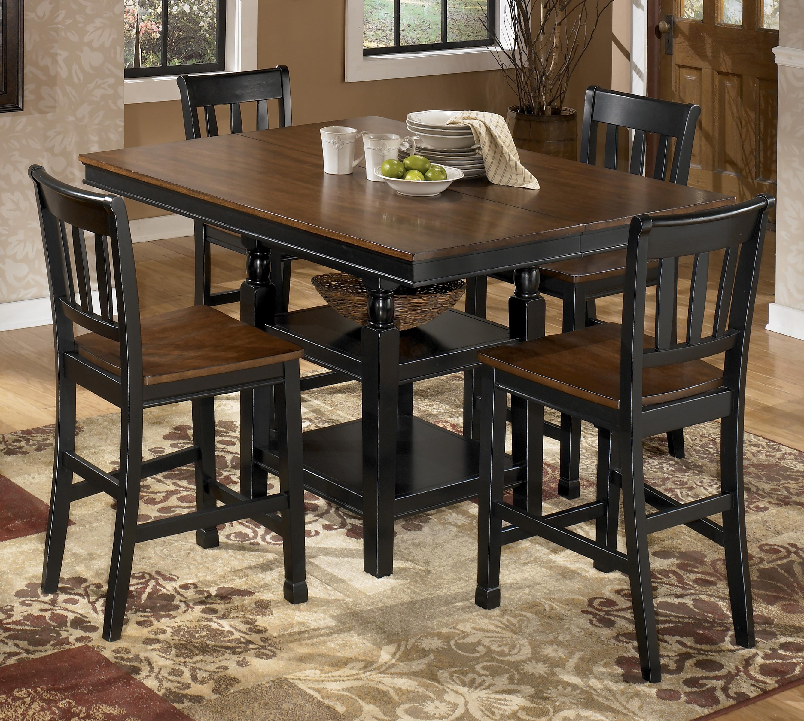 Signature Design by Ashley Owingsville 5-Piece Counter Extension Table Set - Item Number: D580-32+4x224