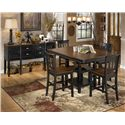 Signature Design by Ashley Owingsville 5-Piece Counter Extension Table Set - Shown with Server