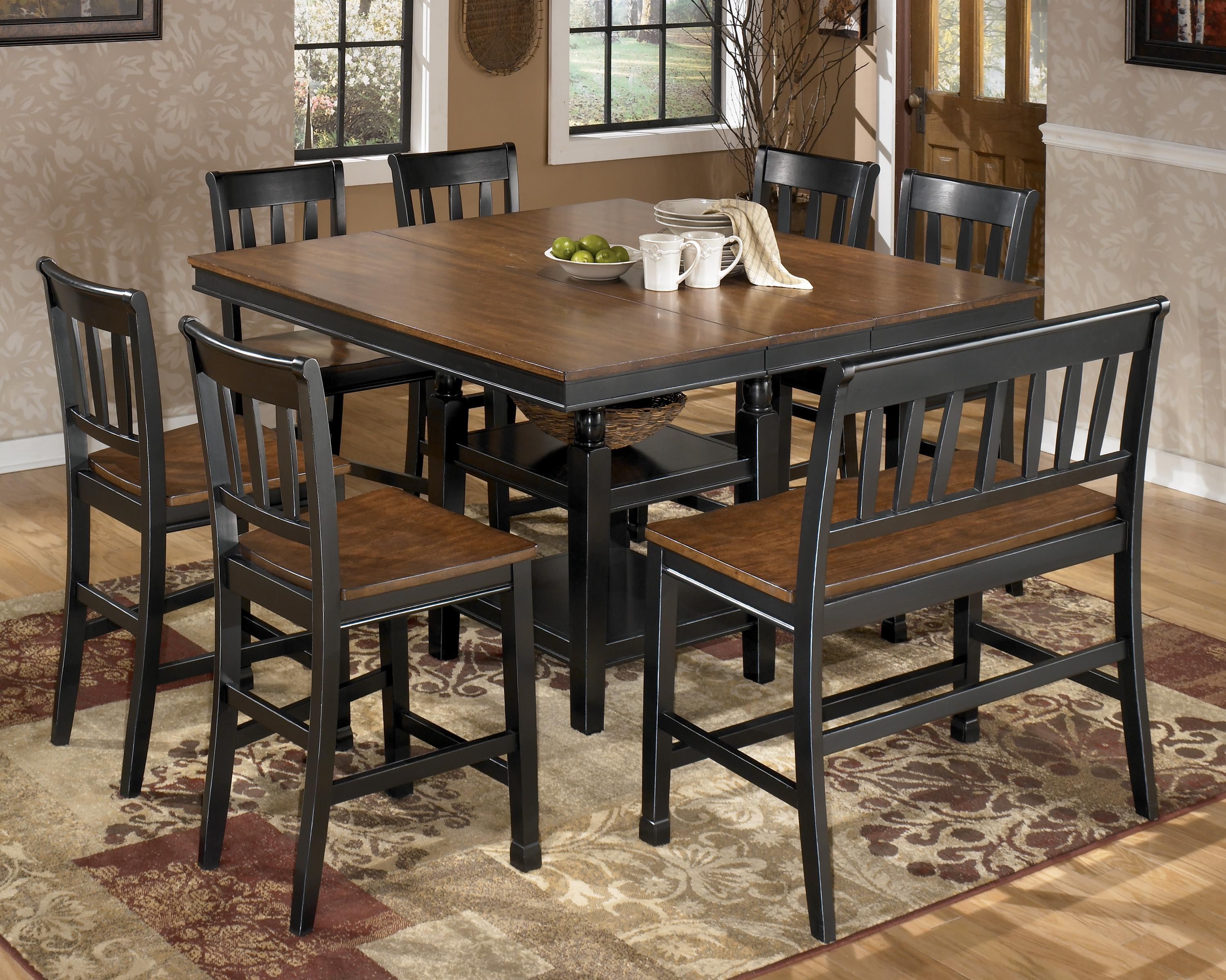 Signature Design By Ashley Owingsville 8 Piece Square Counter Extension Table Set With Double Barstool