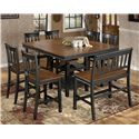 Signature Design by Ashley Owingsville 8-Piece Square Counter Extension Table Set