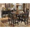 Signature Design by Ashley Owingsville 7-Piece Counter Extension Table Set - Shown with Server