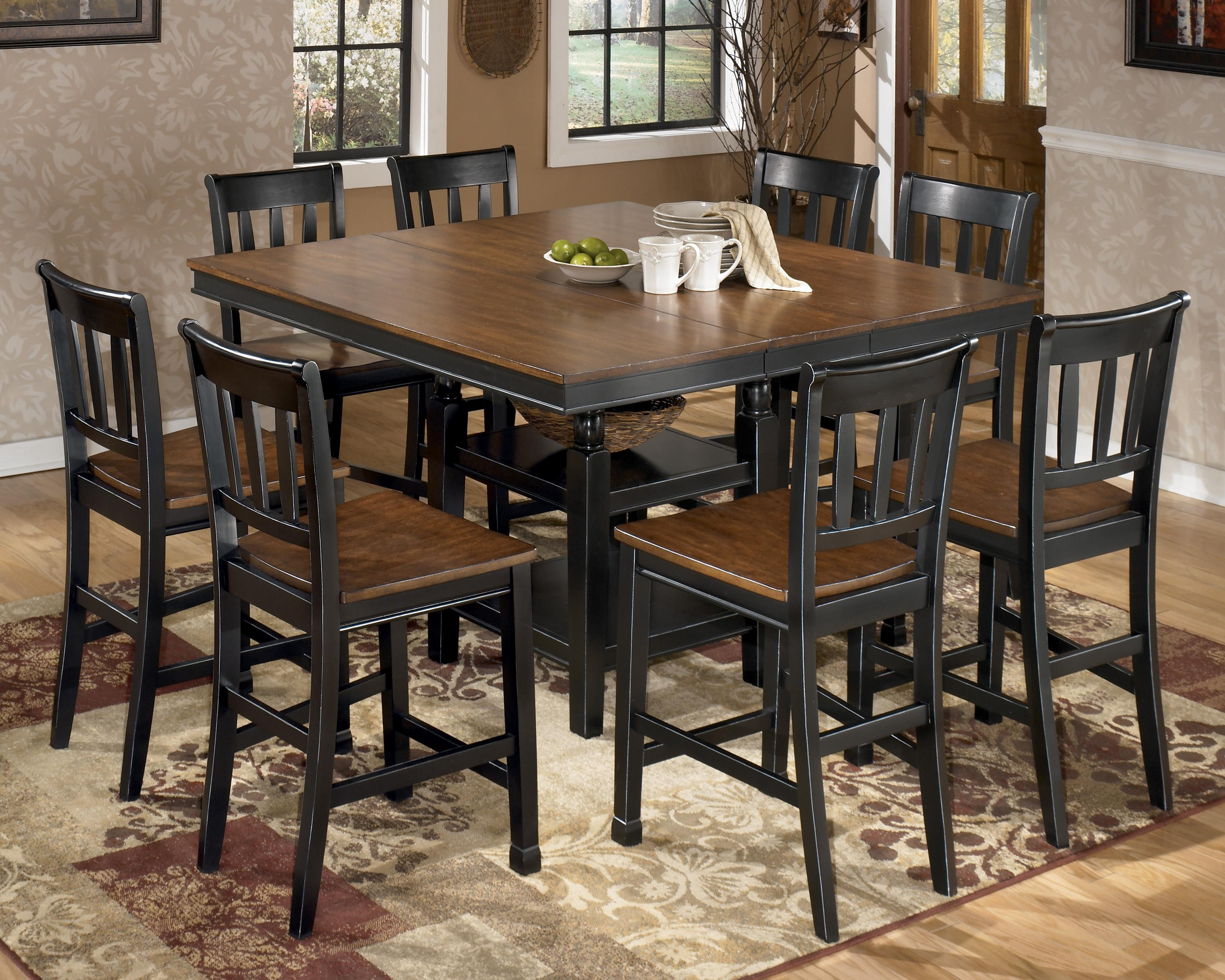 Signature Design by Ashley Owingsville 9-Piece Square Counter Extension Table Set - Item Number: D580-32+8x224