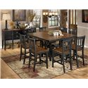 Signature Design by Ashley Owingsville 9-Piece Square Counter Extension Table Set - Shown with Server