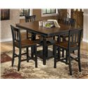 Signature Design by Ashley Owingsville 9-Piece Square Counter Extension Table Set - Table Shown Without Leaf
