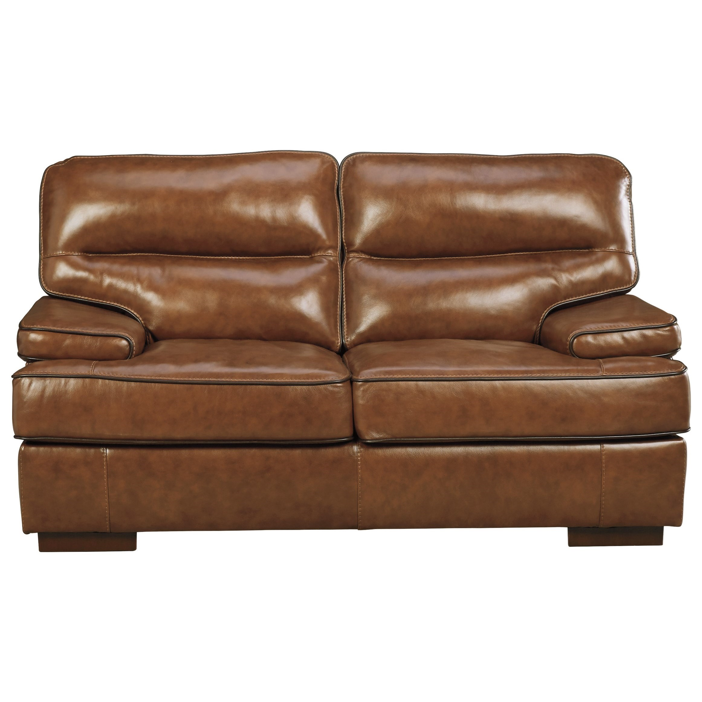 Ashley Signature Design Palner 7850135 Contemporary Leather Match Loveseat Dunk Bright