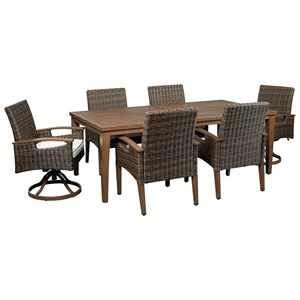 Signature Design by Ashley Paradise Trail 7 Piece Outdoor Dining Set