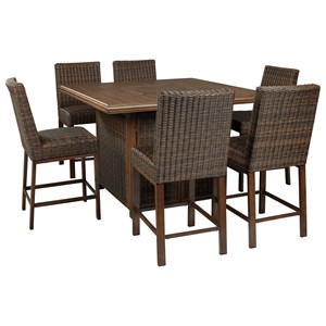 Signature Design by Ashley Paradise Trail 7 Piece Outdoor Firepit Table Set