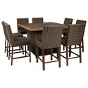 Signature Design by Ashley Paradise Trail 9 Piece Outdoor Firepit Table Set