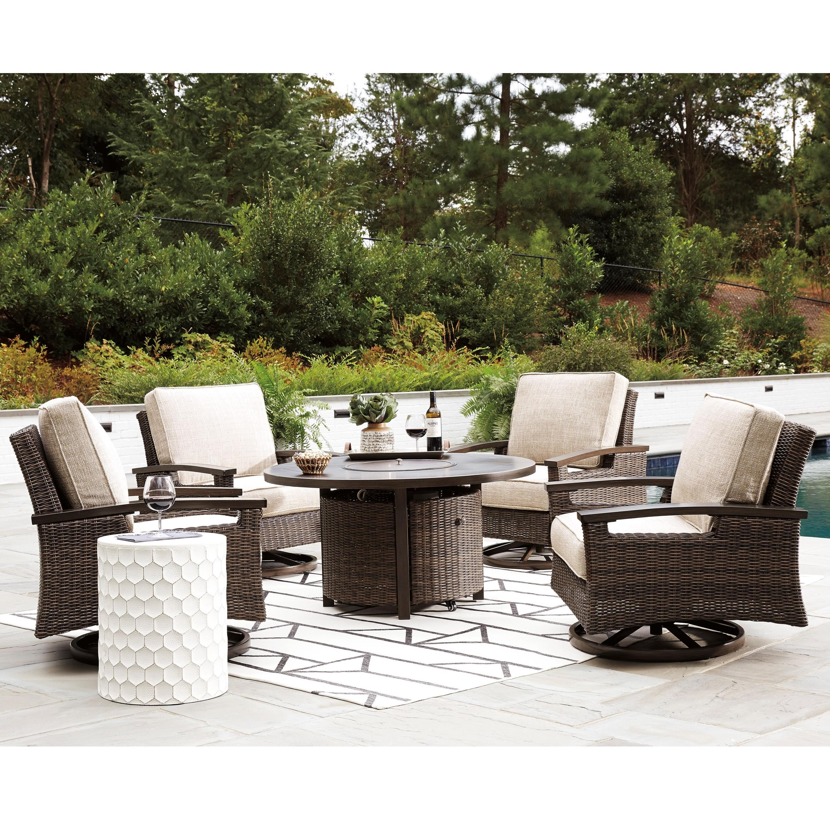 Signature Design By Ashley Paradise Trail Outdoor Fire Pit Table Set Wilson S Furniture Outdoor Conversation Sets Outdoor Chat Sets