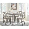 Signature Design by Ashley Parellen Casual 5-Piece Counter Table and Chair Set
