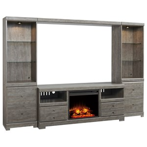 Signature Design by Ashley Parlau Wall Unit with Fireplace