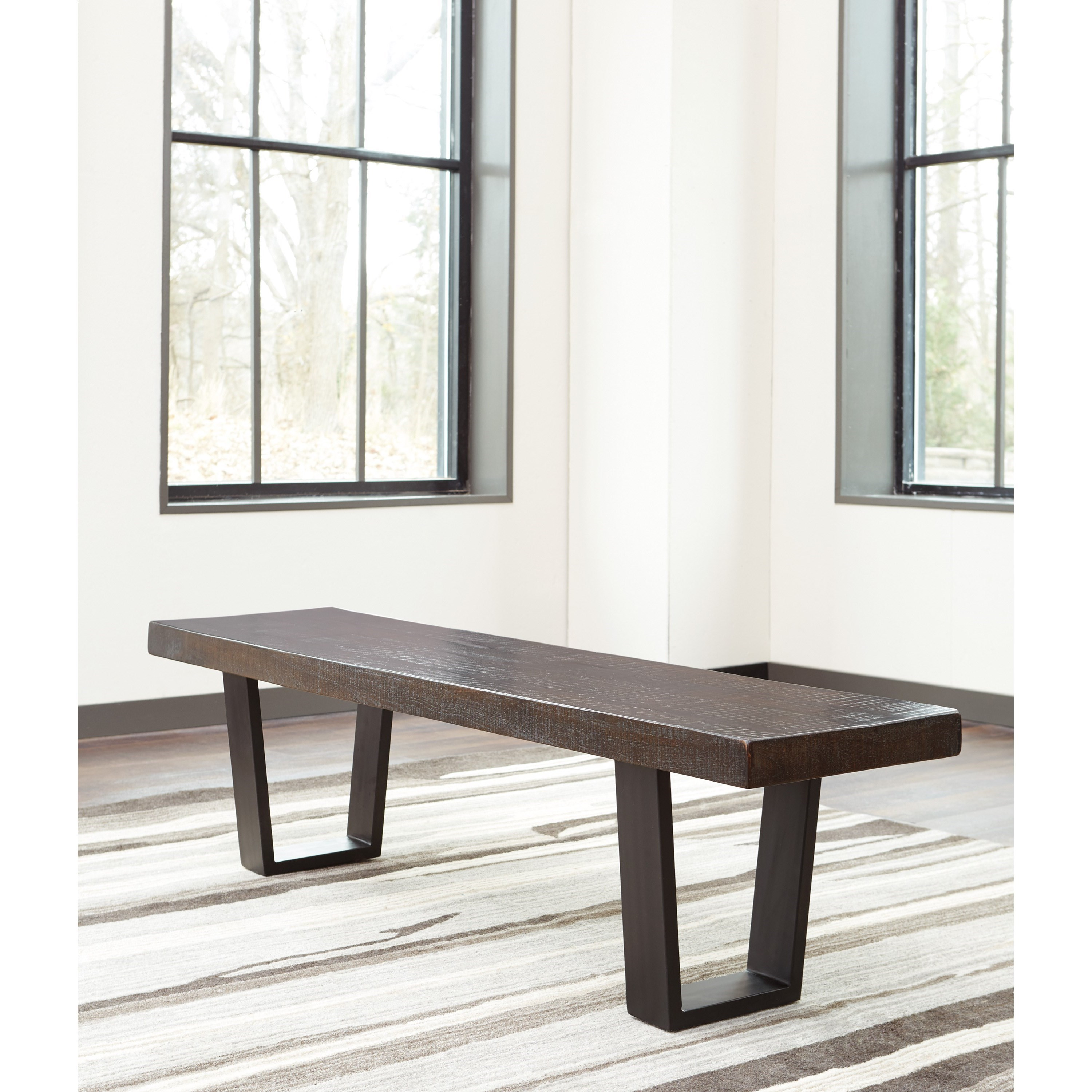 Signature Design By Ashley Parlone D721 00 Modern Rustic Large Dining Room Bench Becker
