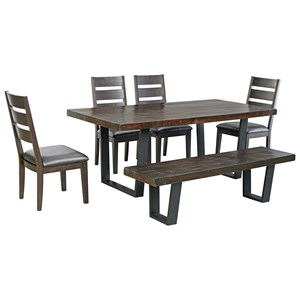 Signature Design by Ashley Parlone 6-Piece Rectangular Dining Table Set