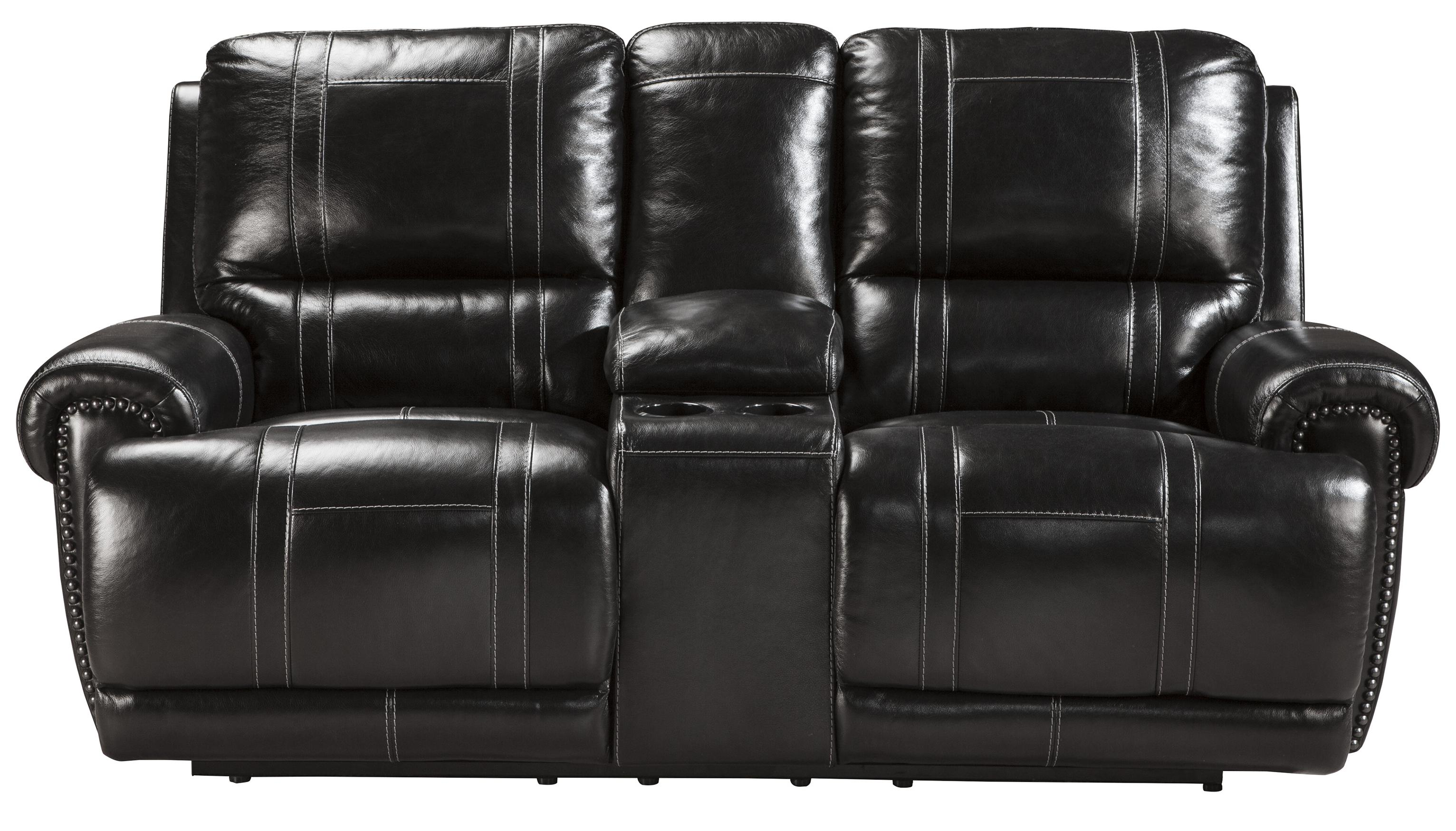 Signature Design by Ashley Paron - Antique Double Reclining Power Loveseat w/ Console - Item Number: U7590196