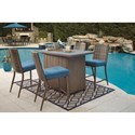 Signature Design by Ashley Partanna Set of 4 Outdoor Barstools with Cushion