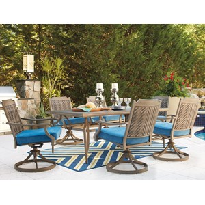 Signature Design by Ashley Partanna Outdoor Dining Table Set with Swivel Chairs