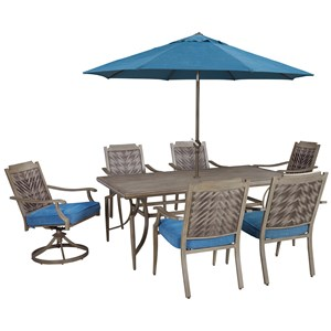 Signature Design by Ashley Partanna Outdoor Dining Table Set with Umbrella