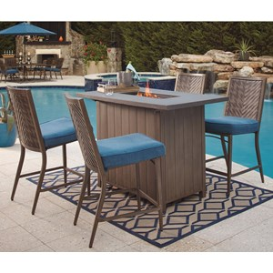 Ashley (Signature Design) Partanna 5 Piece Bar Table With Fire Pit Set