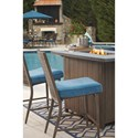 Signature Design by Ashley Partanna 5-Piece Bar Table with Fire Pit Set