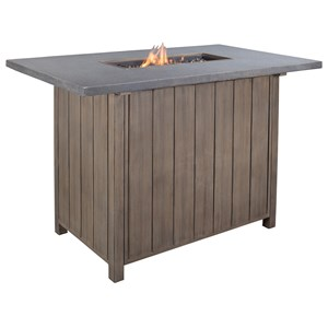 Signature Design by Ashley Partanna Outdoor Bar Table w/ Fire Pit