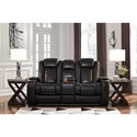 Signature Design by Ashley Party Time Power Reclining Loveseat w/ Console, Adjustable Headrests, & Theater Lighting
