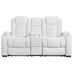 Power Recl Loveseat w/ Console & Adj Hdrsts