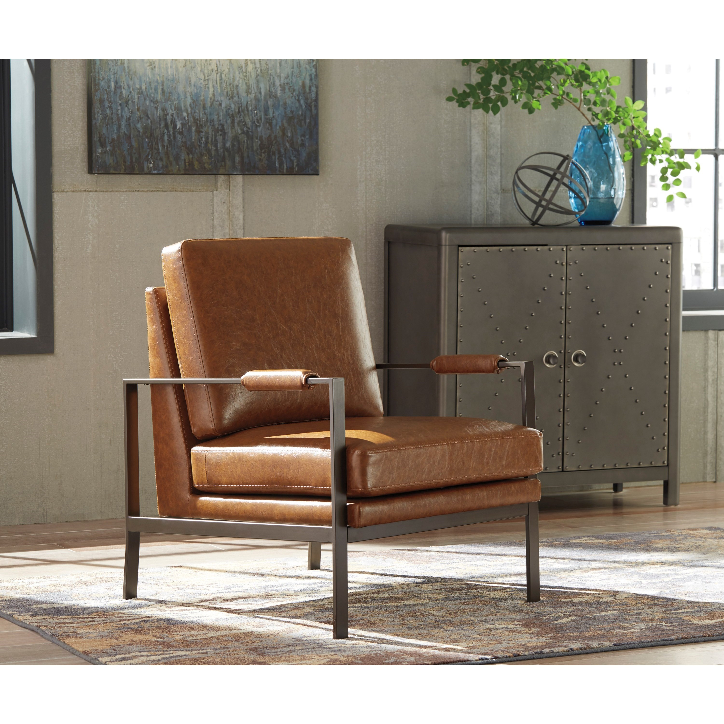 Leather Chair With Metal Accent On Arms: Signature Design By Ashley Peacemaker Dark Bronze Finish