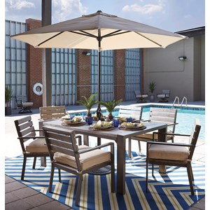 Signature Design by Ashley Peachstone Outdoor Dining Table Set with Umbrella