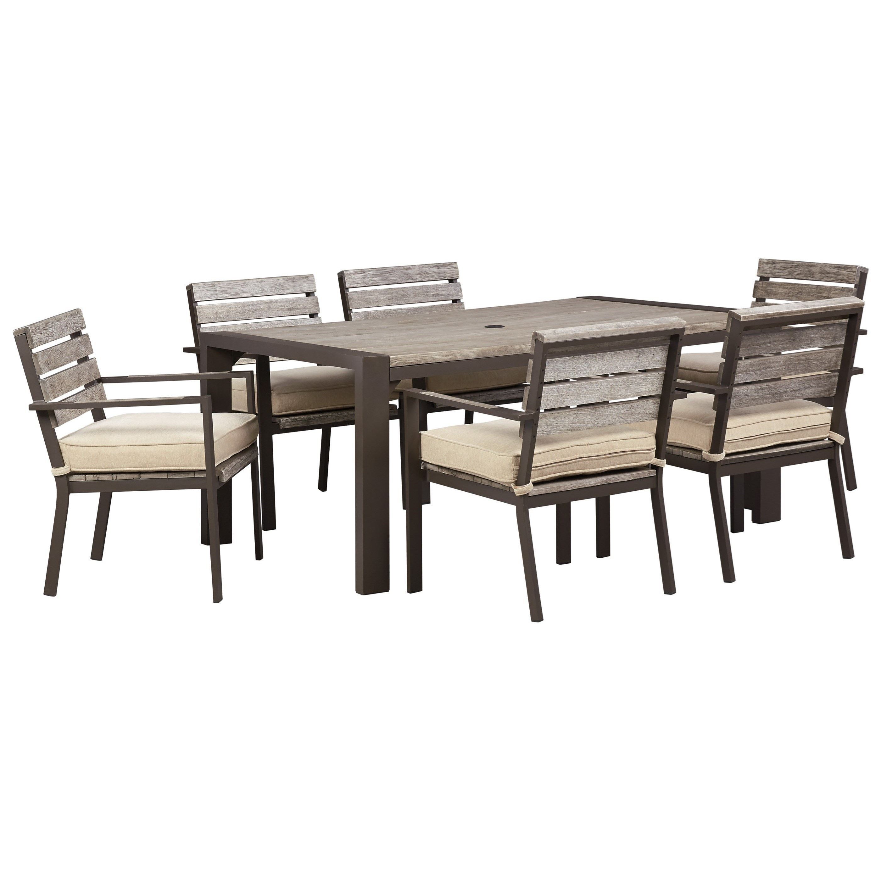Signature Design By Ashley Peachstone Outdoor Dining Table Set Value City Furniture Outdoor