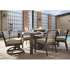 Signature Design by Ashley Peachstone Outdoor Dining Table Set with Swivel Chairs