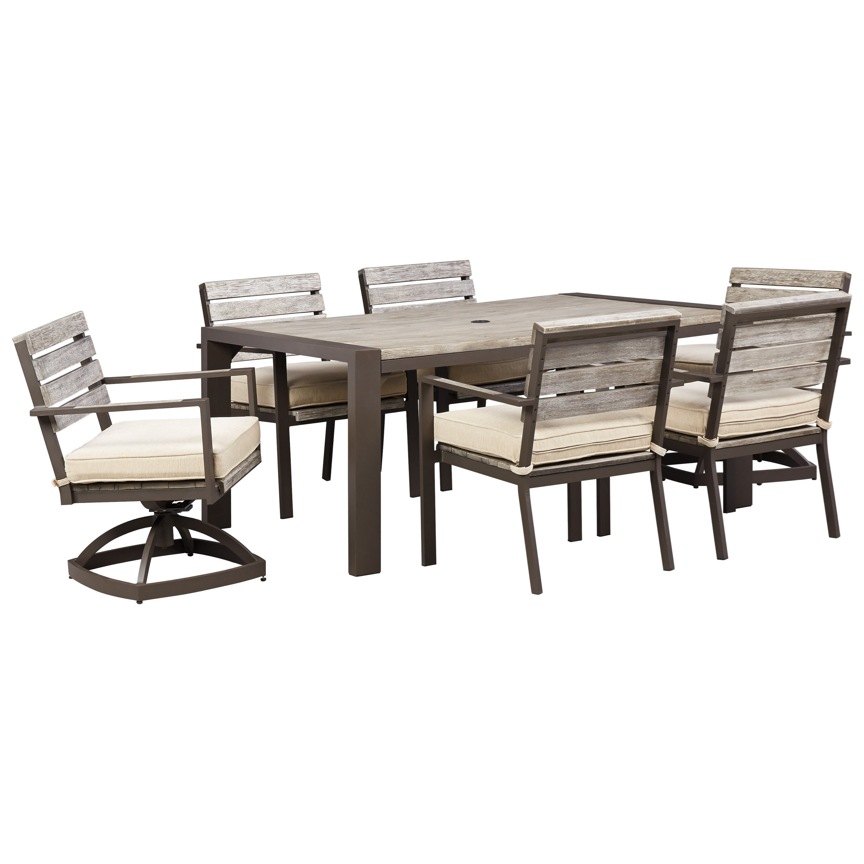 Signature Design By Ashley Peachstone Outdoor Dining Table Set With Swivel Chairs Value City