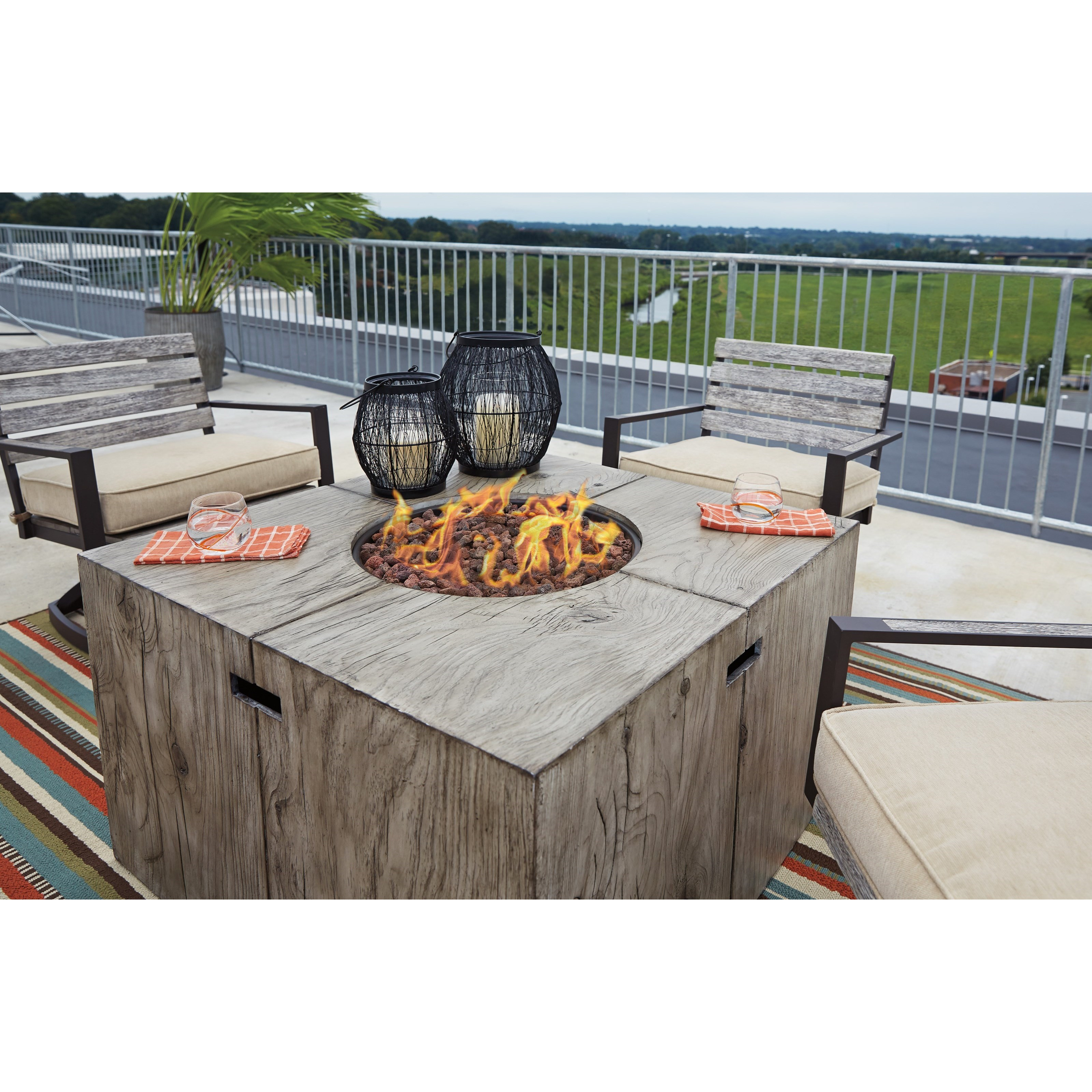Signature Design By Ashley Peachstone 5 Piece Fire Pit Set
