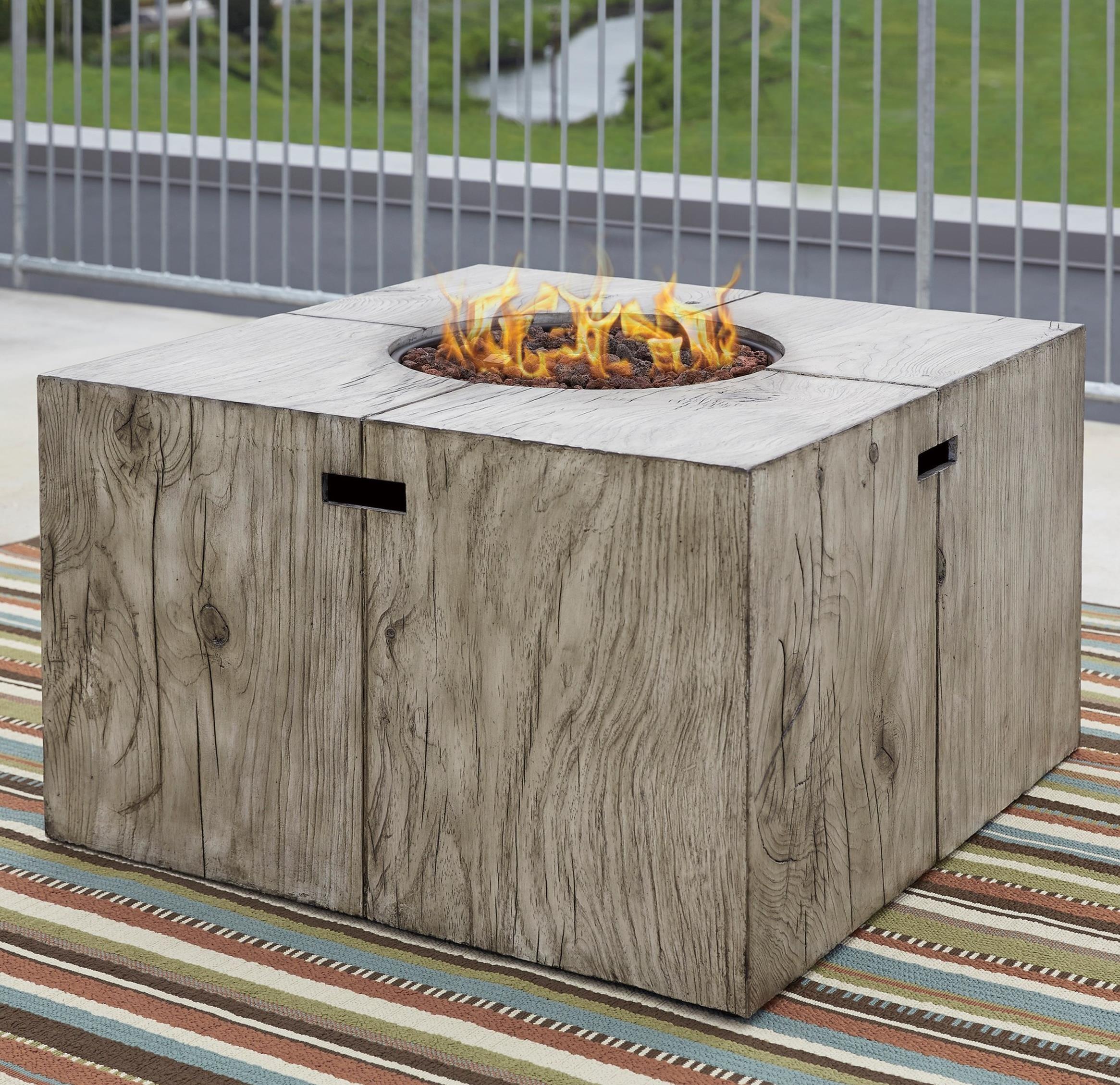 Signature Design by Ashley Peachstone Rustic Style Square Fire Pit