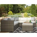 Signature Design by Ashley Peckham Park Outdoor Sectional Set with Ottoman - Item Number: P320-880+850