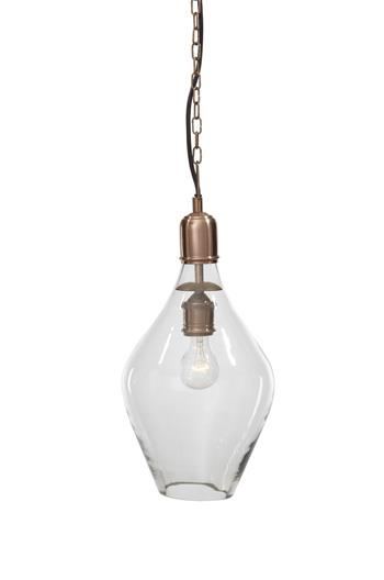 Signature Design by Ashley Pendant Lights Gaenor Clear/Copper Finish Glass Pendant - Item Number: L000188