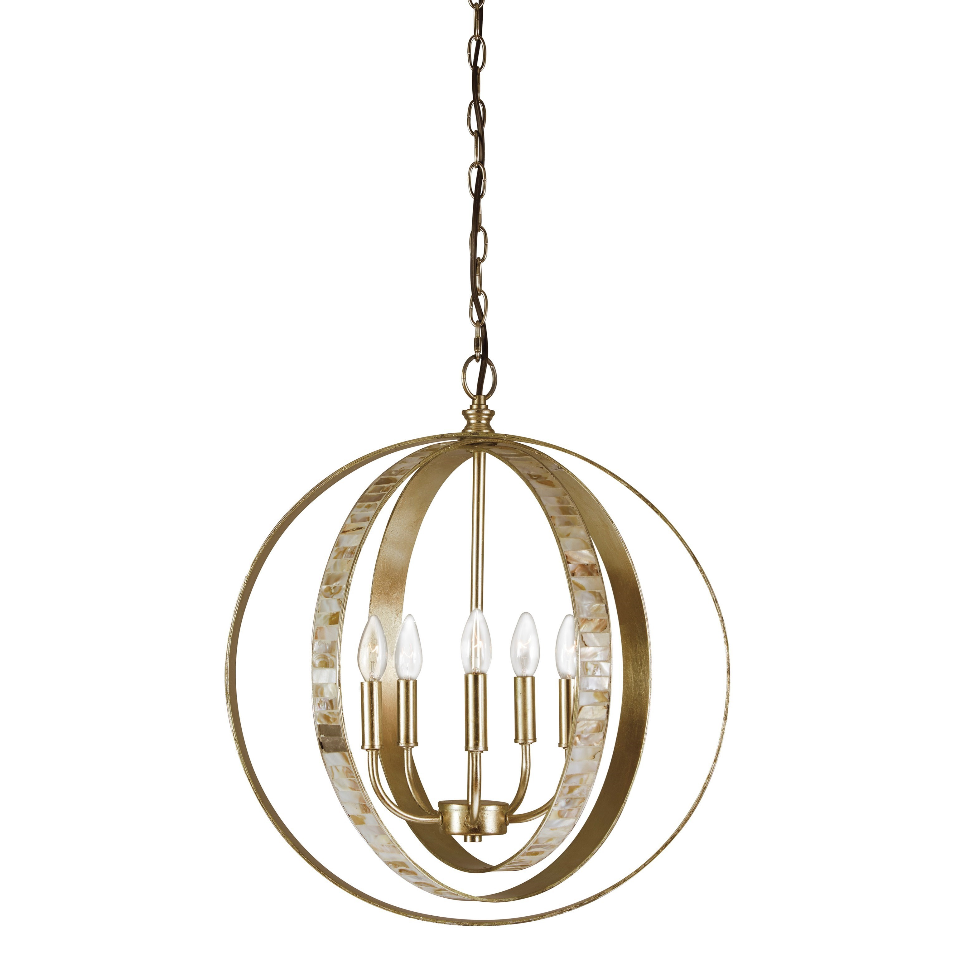Signature Design by Ashley Pendant Lights Moshe Metal Silver Leaf Finish Pendant Light - Item Number: L000328