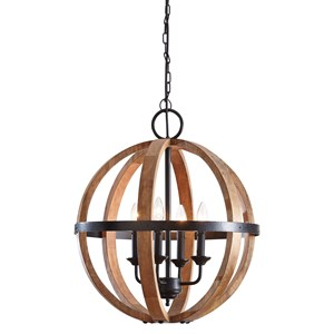 Signature Design by Ashley Pendant Lights Emilano Black/Natural Wood Pendant Light