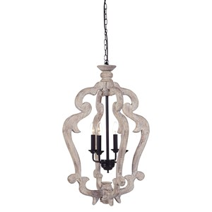 Signature Design by Ashley Pendant Lights Jocelin Distressed White Wood Pendant Light